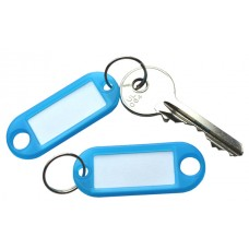 Transparent Blue Plastic Key Tag